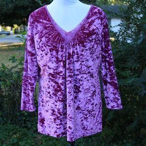 Pink Velvet Long Sleeve Blouse XL